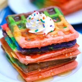 rainbow waffles with whipped cream