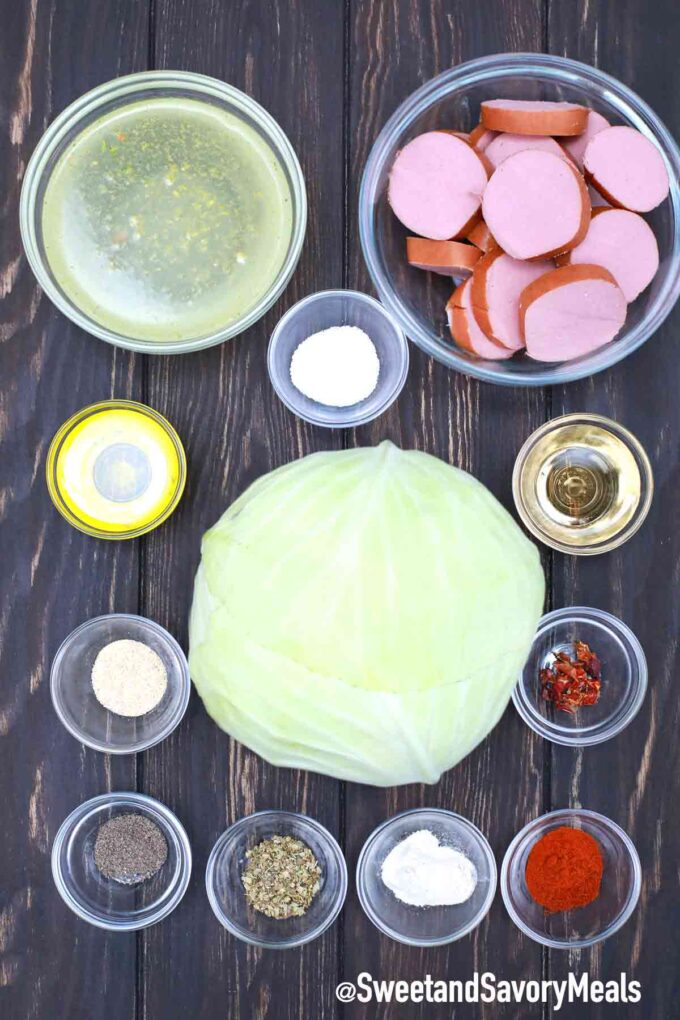 slow cooker cabbage and sausage ingredients on a table