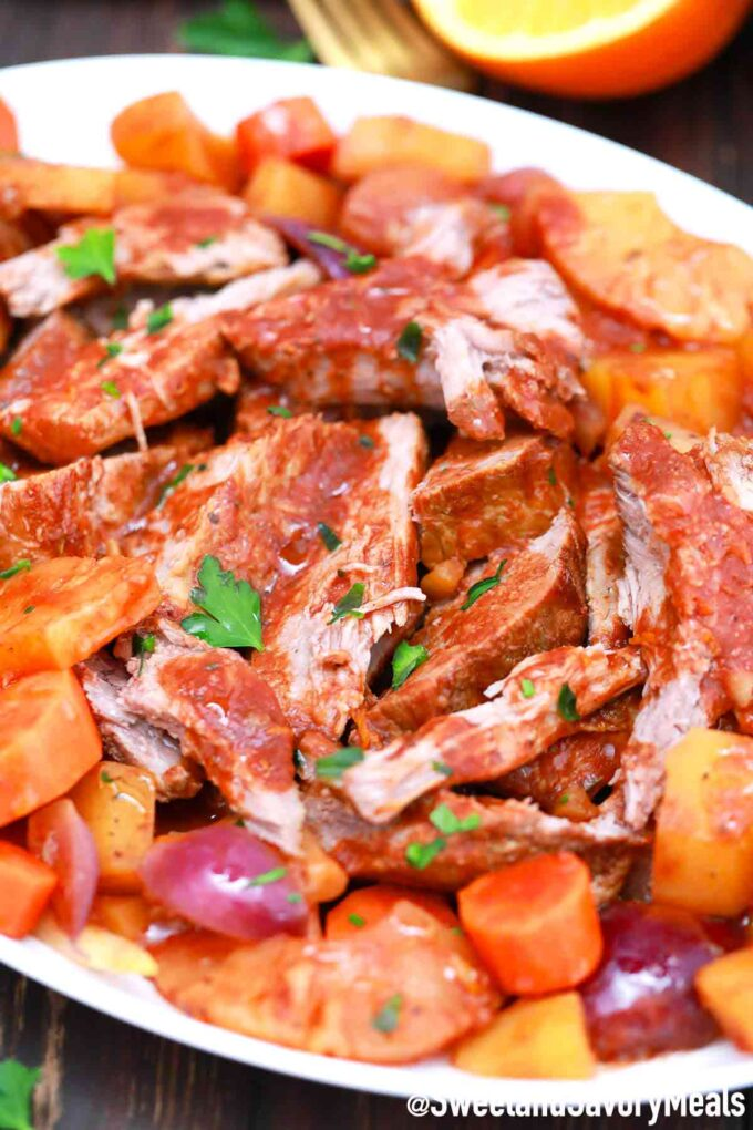 slow cooker carribean pot roast with pineapple