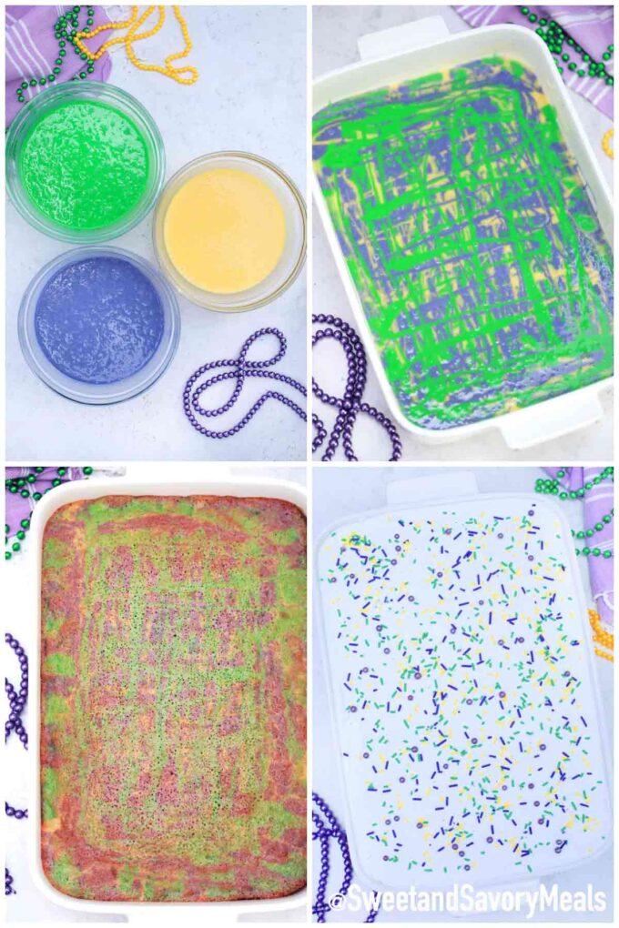 steps how to make king cake poke cake