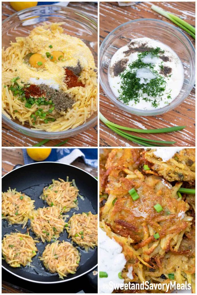 Schritte, wie man knusprige Kartoffellatkes macht