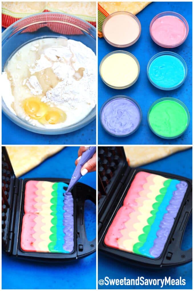steps how to make rainbow waffles