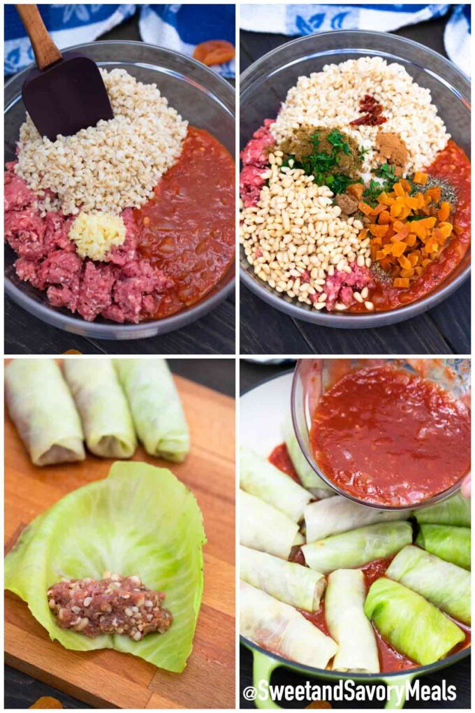 steps how to make Turkish cabbage rolls