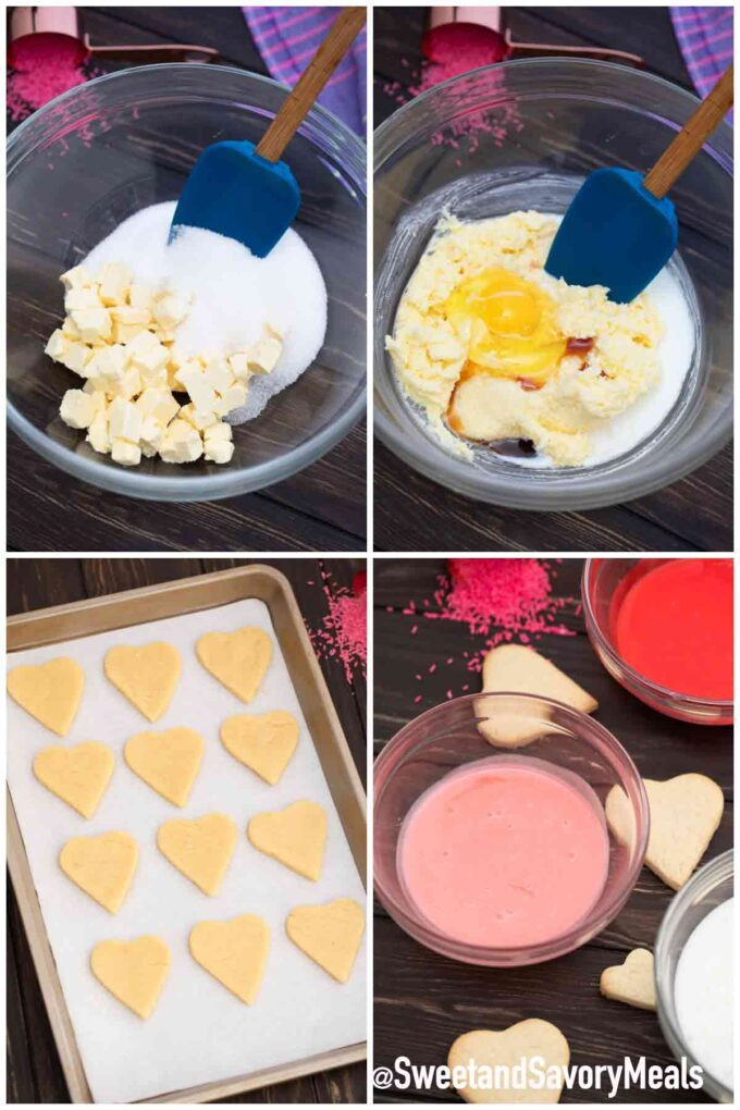 steps how to make heart cookies with marble icing