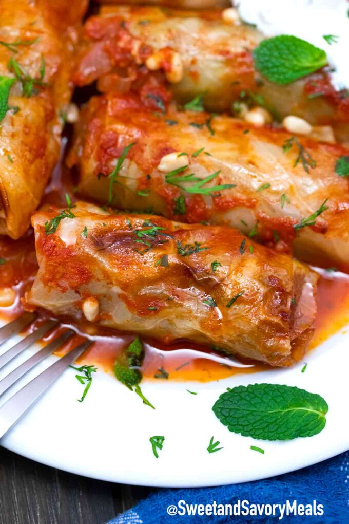Turkish cabbage rolls in a tomato sauce