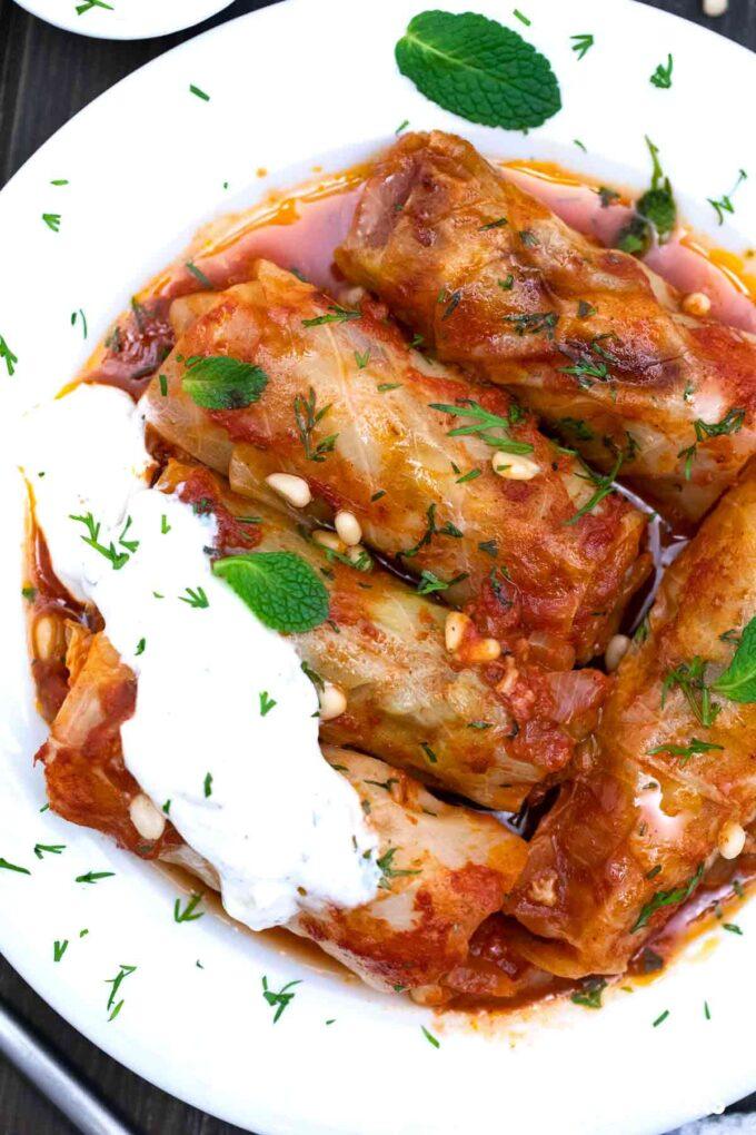 Turkish cabbage rolls with yogurt sauce