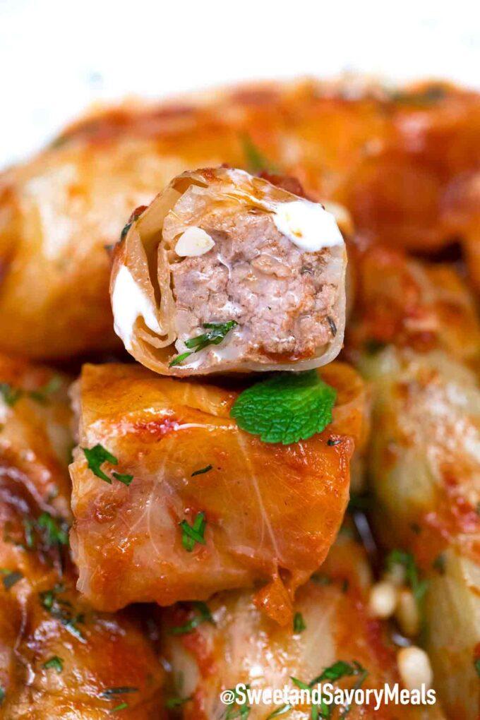 Turkish cabbage rolls interior