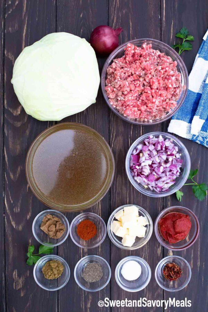 Turkish stew ingredients