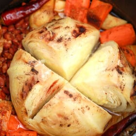 cabbage pot roast with beans and veggies