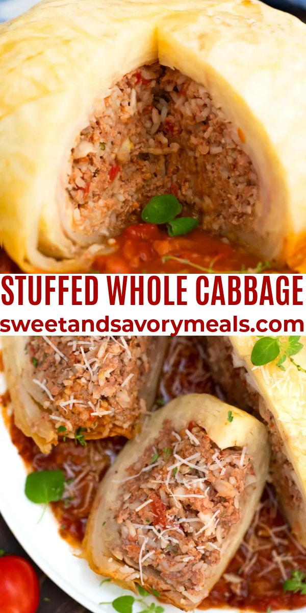 easy stuffed whole cabbage pin