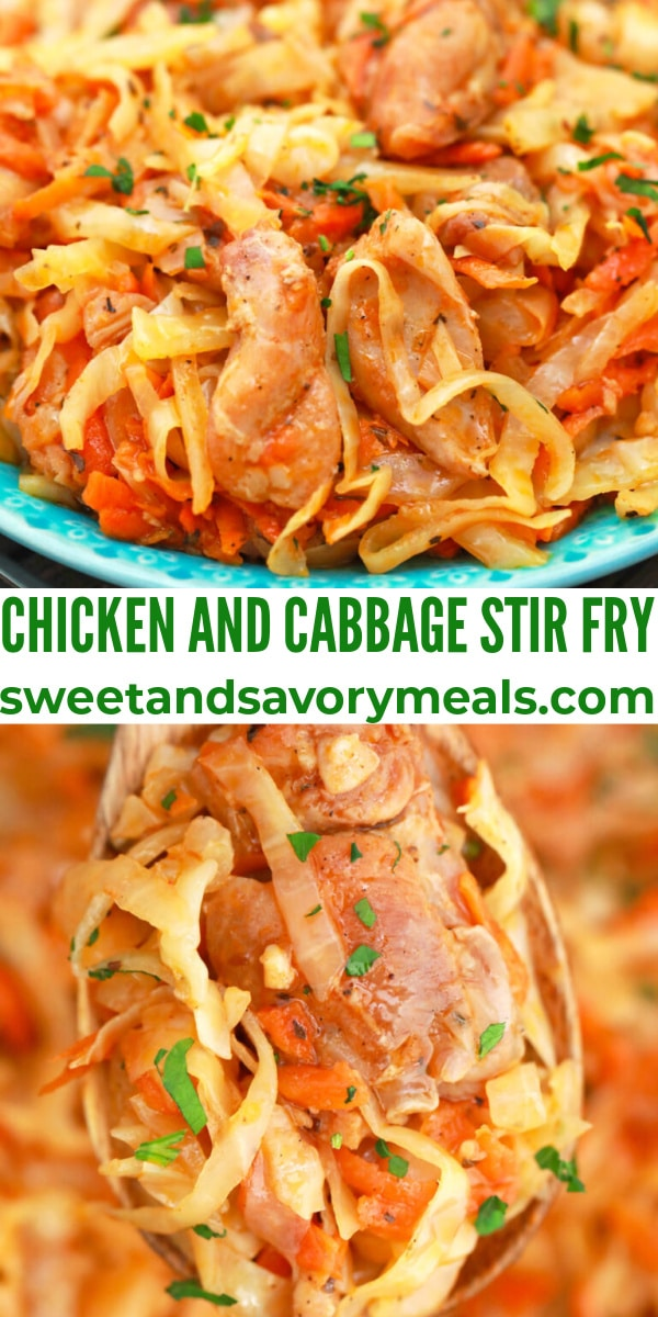 easy chicken and cabbage stir fry pin
