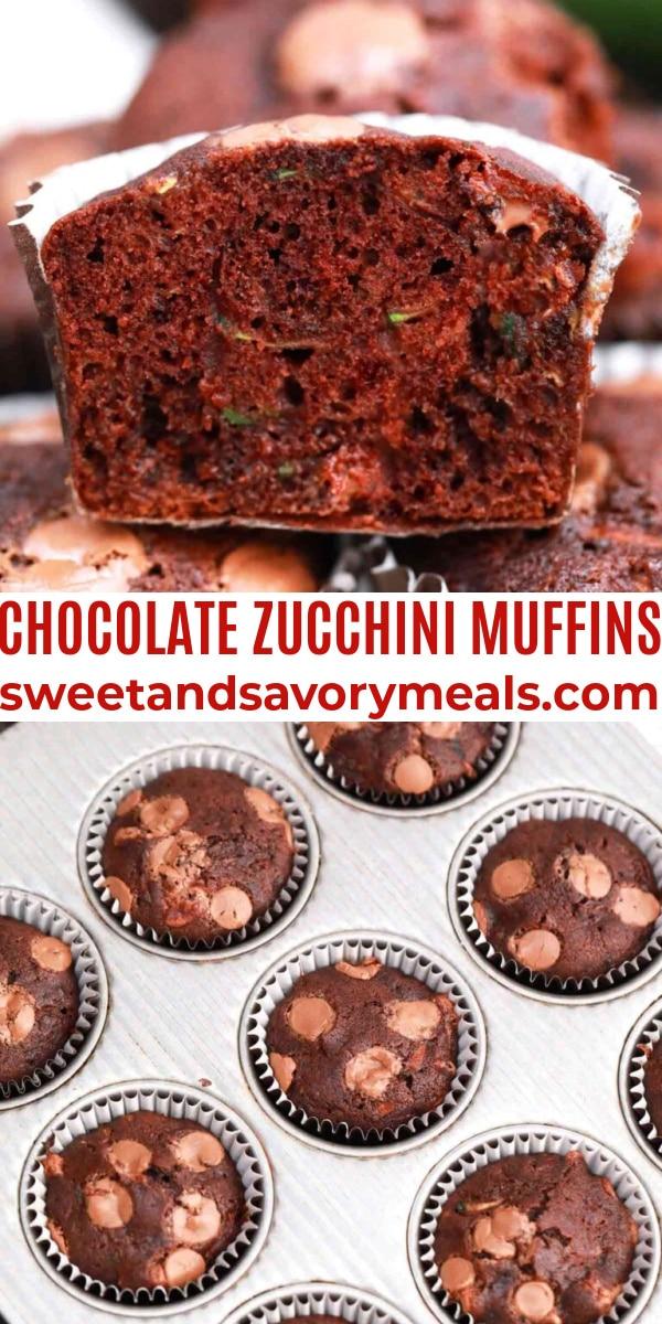 easy chocolate zucchini muffins pin