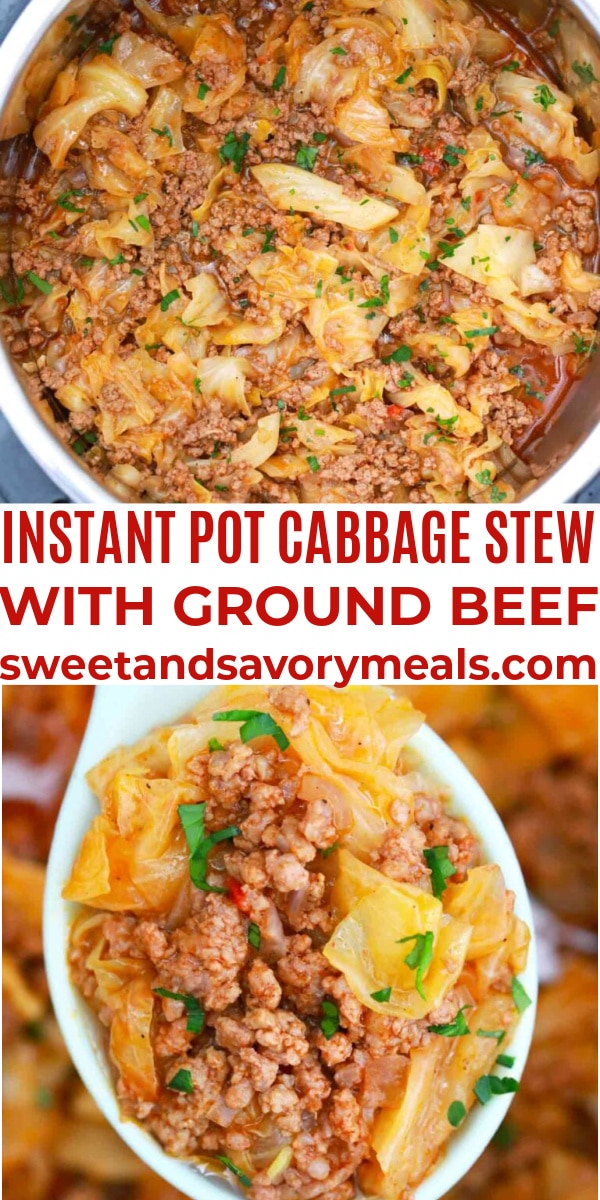 easy instant pot cabbage stew with ground beef pin