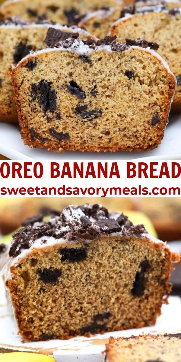 easy oreo banana bread pin