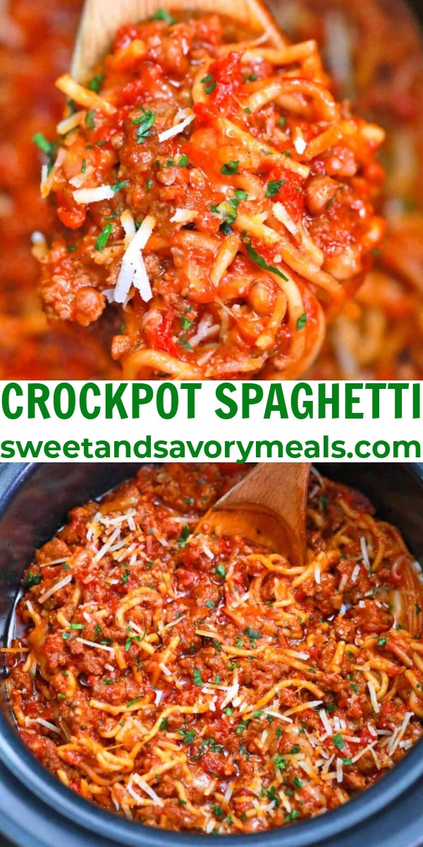easy crockpot spaghetti pin