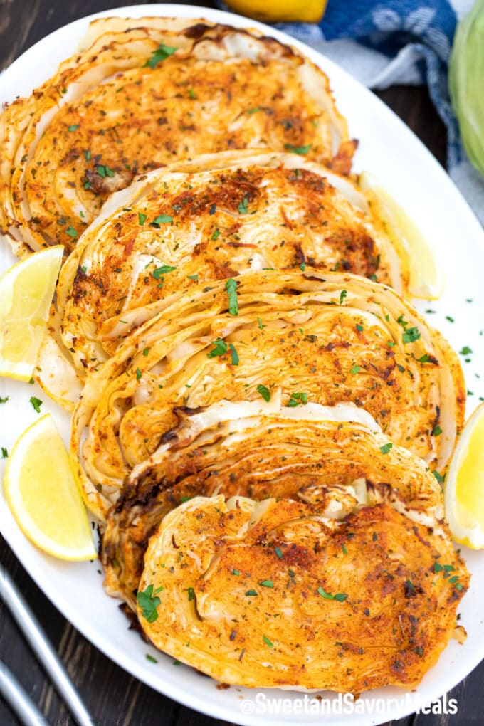 air fryer cabbage steaks on a plate