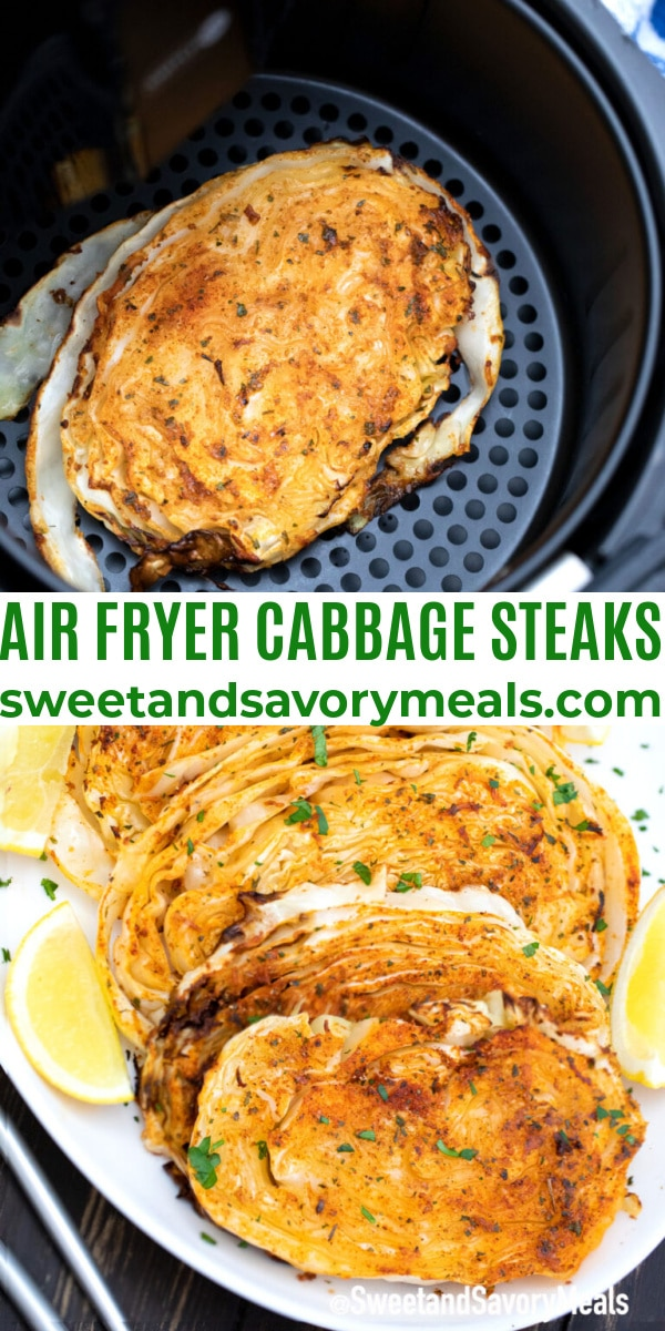 easy air fryer cabbage steaks pin