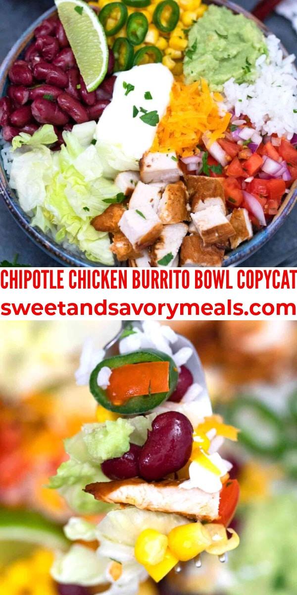 easy chipotle chicken burrito bowl pin