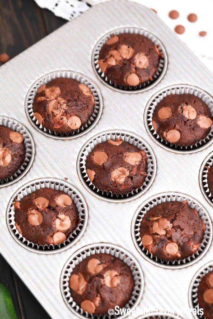 chocolate zucchini muffins in a muffin pan