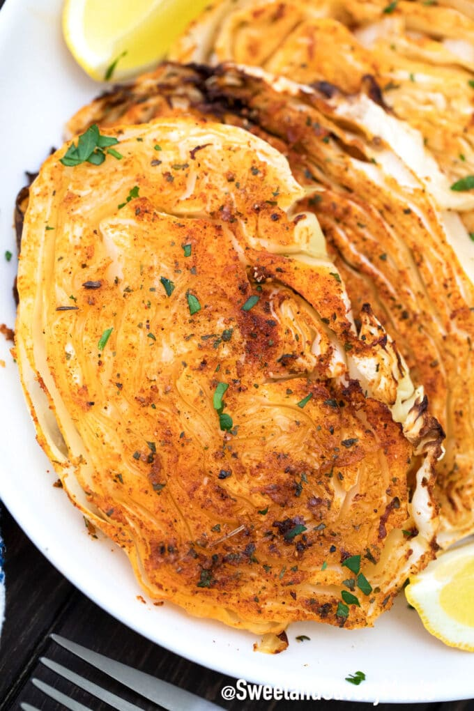 air fryer cabbage steaks with parsley