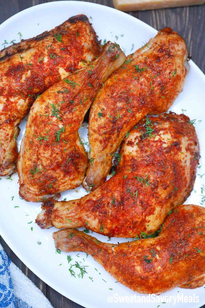 air fryer chicken thighs on a serving plate