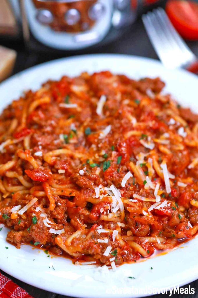 crockpot spaghetti casserole on a plate