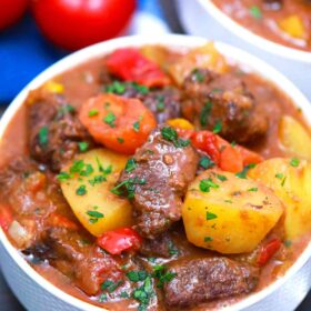 Mexican beef stew in a bowl