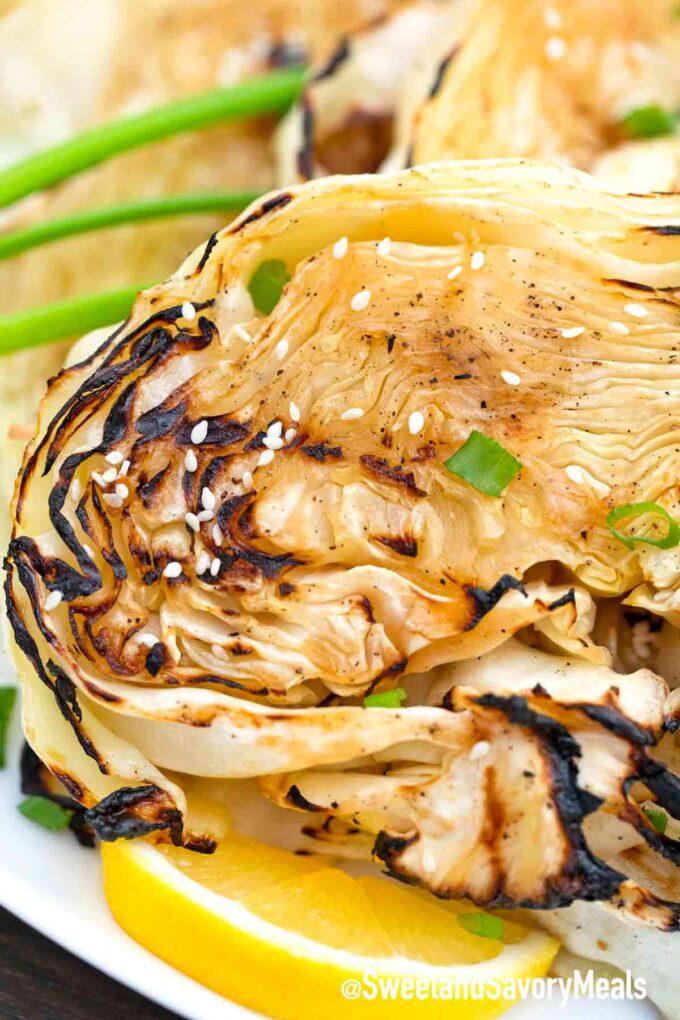 teriyaki cabbage steak with sesame seeds