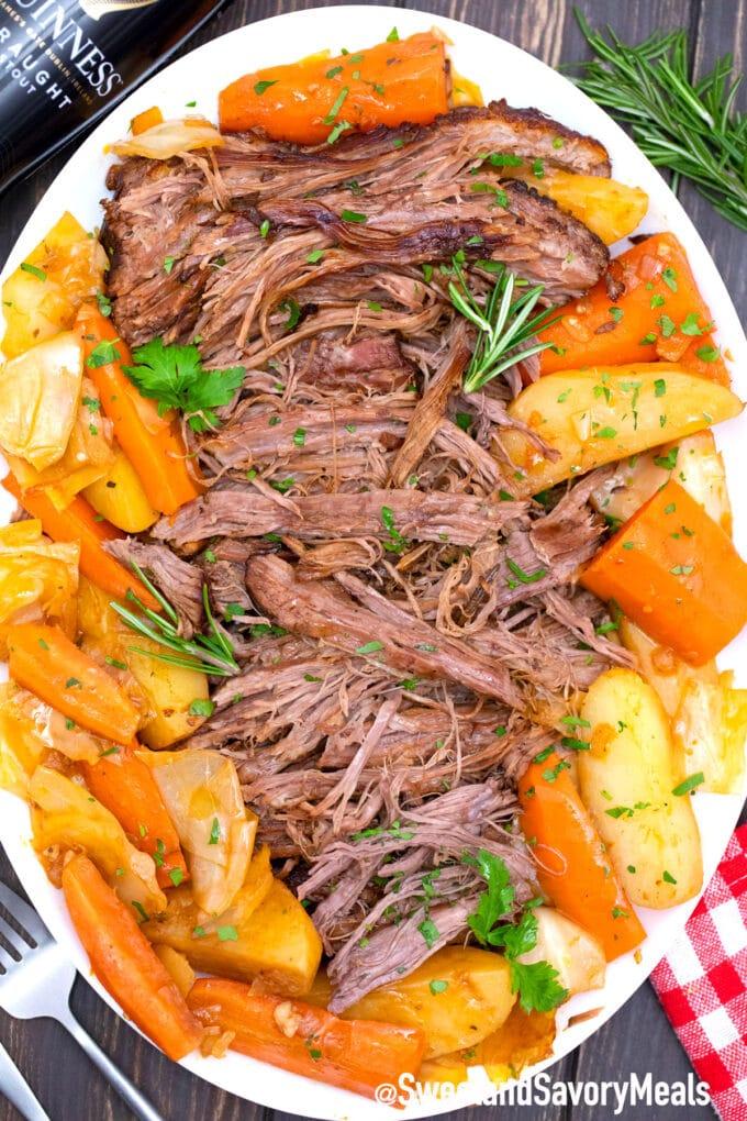 shredded Guinness pot roast