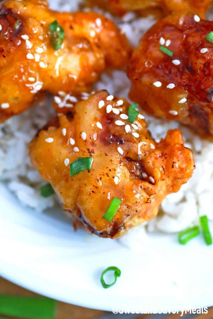 honey chicken with rice