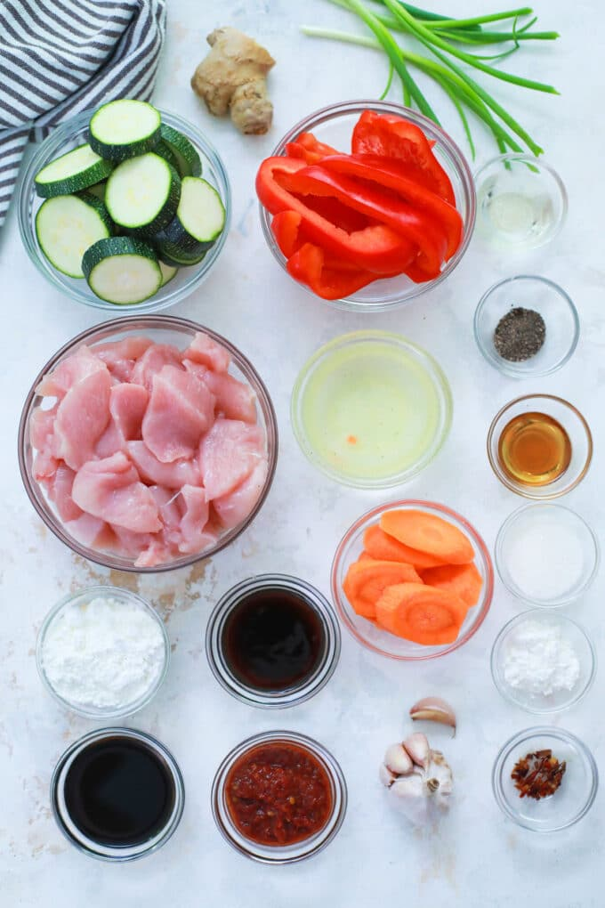 Hunan Chicken ingredients on a white table