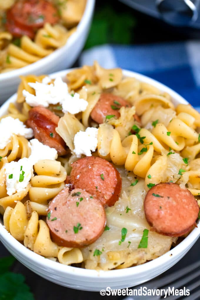 instant pot cabbage and noodles with sausage