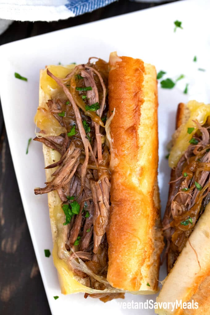 instant pot French dip sandwiches with French Baguette
