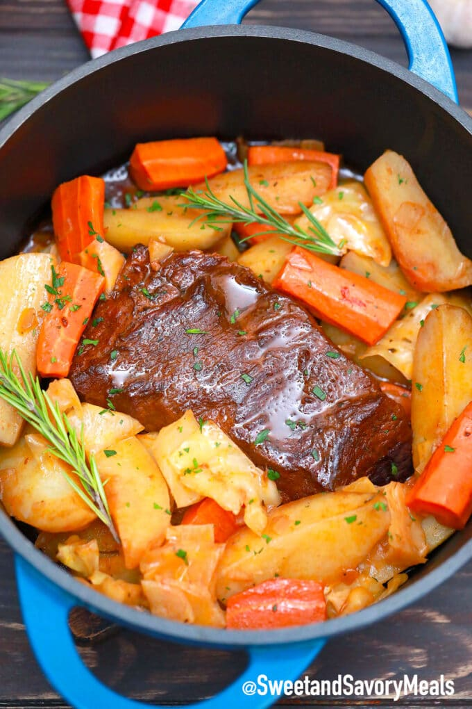 Guinness pot roast with potatoes and cabbage