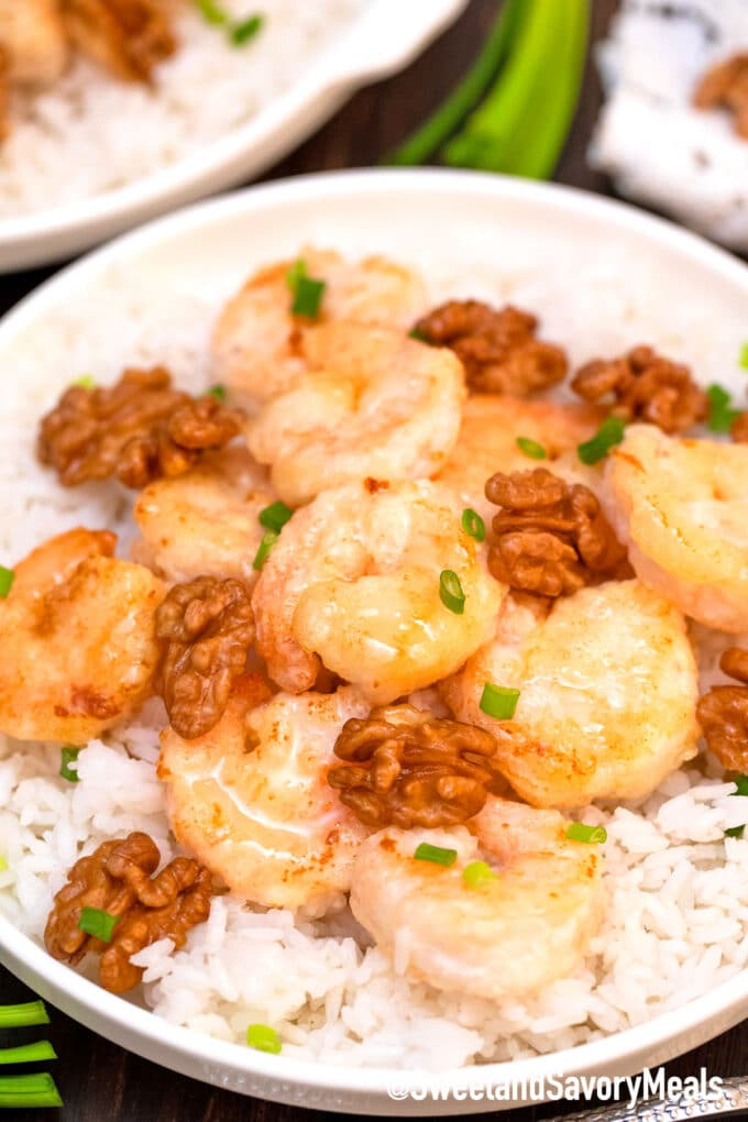 Panda Express honey walnut shrimp with rice