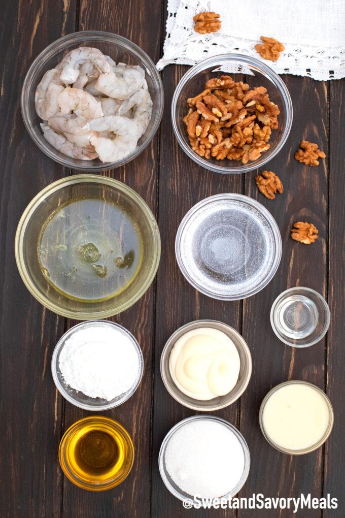Panda Express honey walnut shrimp ingredients on a table