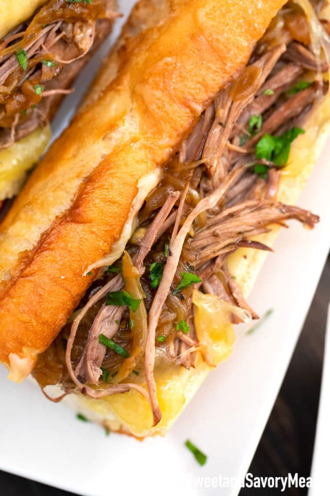 instant pot French dip sandwiches on a serving plate