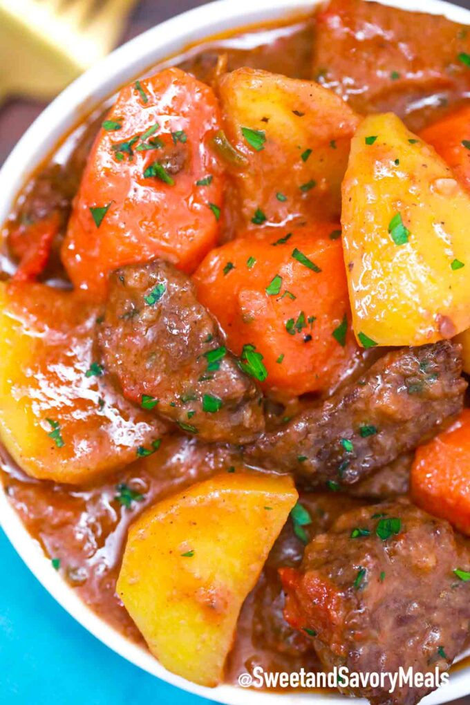 instant pot Mexican beef stew in a bowl