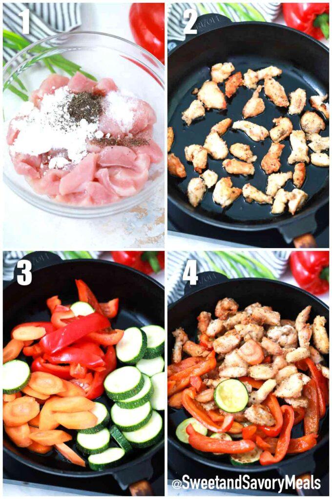 steps how to make Hunan Chicken stir-fry
