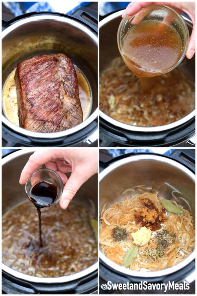 steps how to make instant pot French dip sandwiches