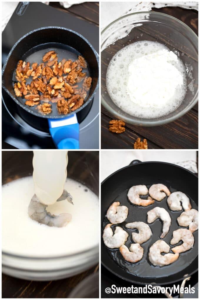 steps how to make Panda Express honey walnut shrimp