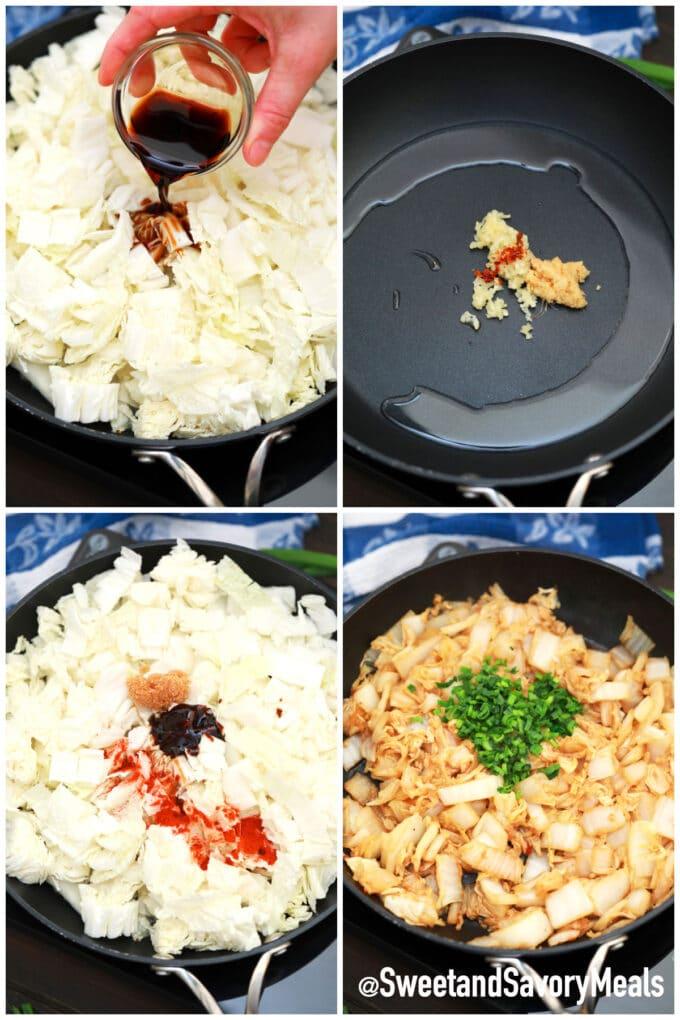 steps how to make sautéed Napa cabbage