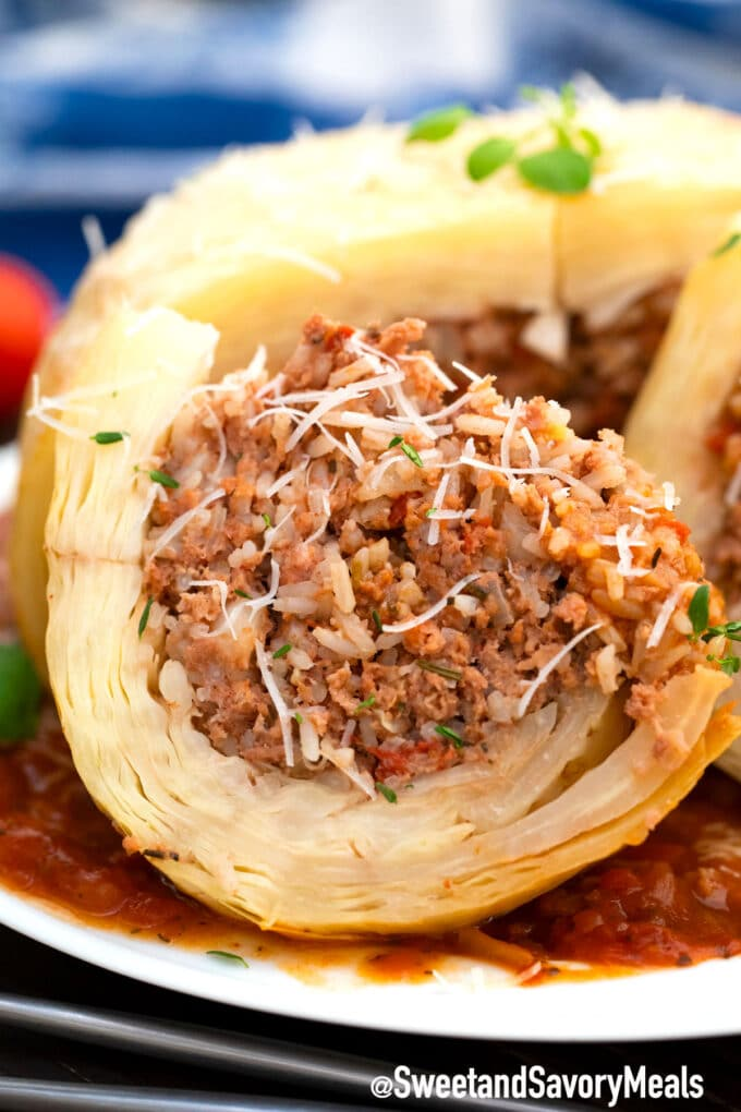 stuffed whole cabbage with ground beef