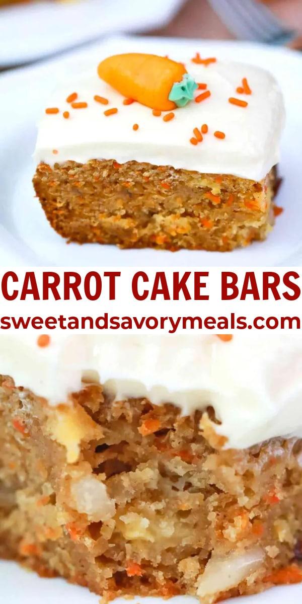 easy carrot cake bars pin