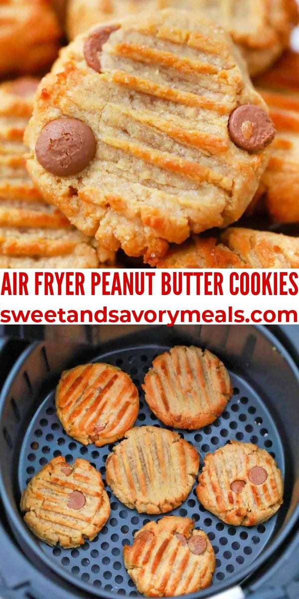 easy air fryer peanut butter cookies pin