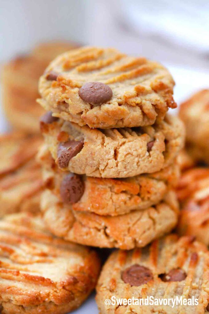 stack of air fryer peanut butter cookies