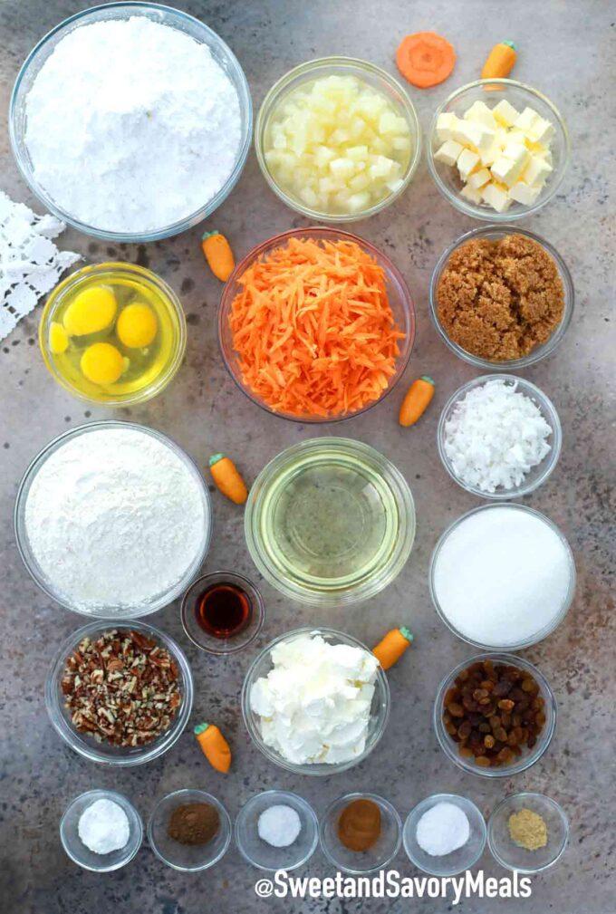 carrot cake bars ingredients