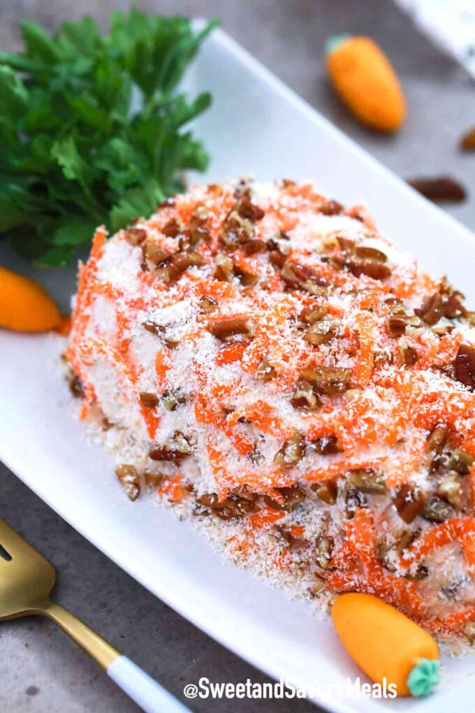 carrot cake cheese ball with coconut