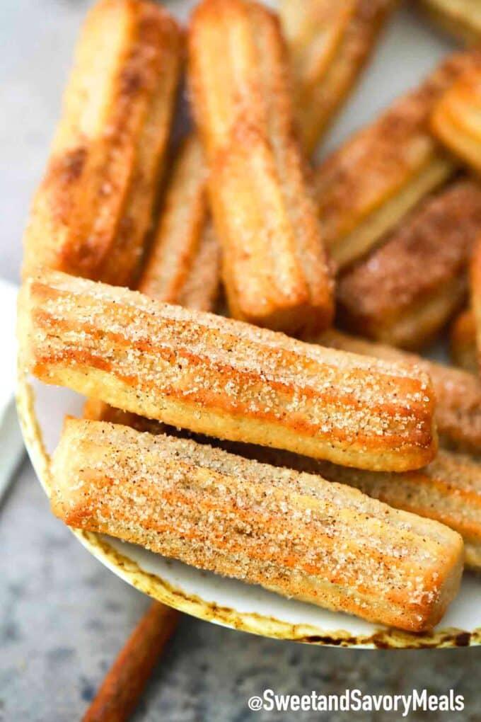 crispy air fryer churros with cinnamon sugar