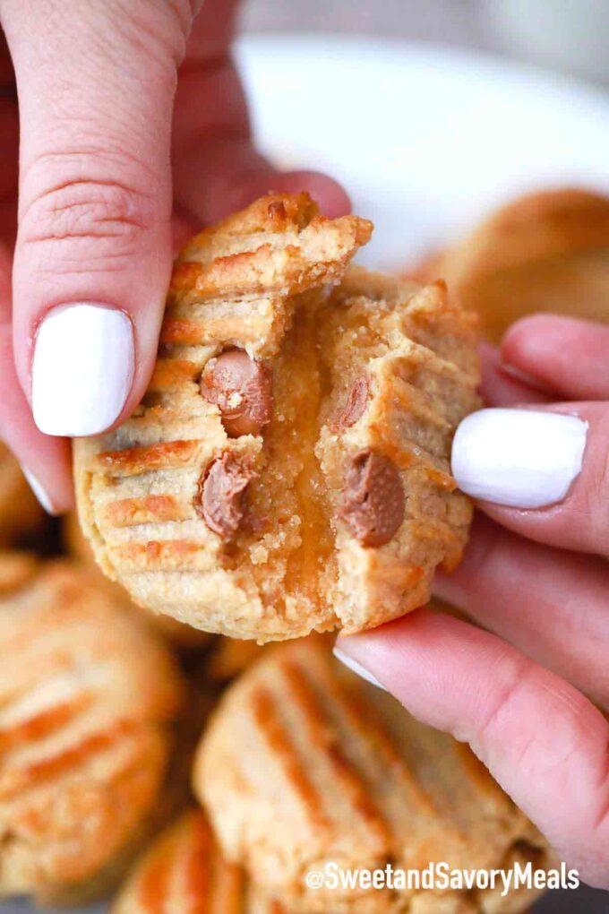 air fryer peanut butter cookies in half